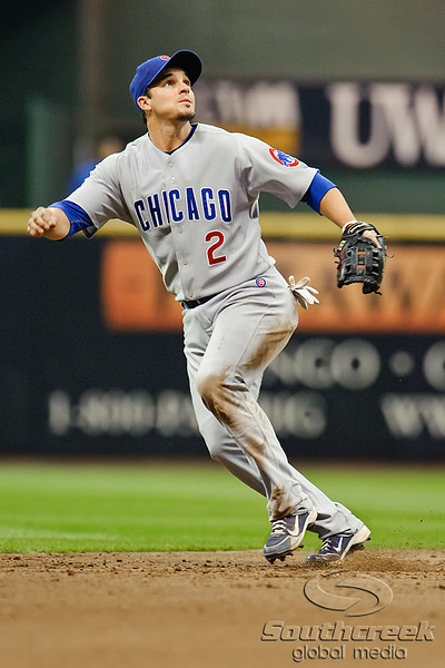 23 April 2010:  Chicago Cubs shortstop Ryan Theriot (2) reacts to a fly ball hit to left field during the game between the Milwaukee Brewers and Chicago Cubs at Miller Park in Milwaukee, Wisconsin.  The Cubs defeated the Brewers 8-1.  Mandatory Credit: John Rowland / Southcreek Global
