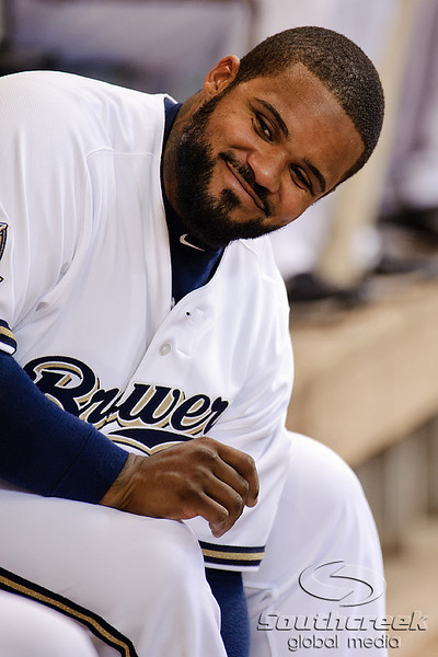 23 April 2010:   Milwaukee Brewers first baseman Prince Fielder (28) prior to the game between the Milwaukee Brewers and Chicago Cubs at Miller Park in Milwaukee, Wisconsin.  The Cubs defeated the Brewers 8-1.  Mandatory Credit: John Rowland / Southcreek Global