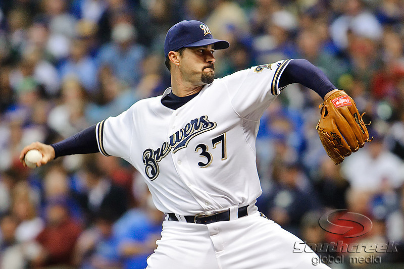 23 April 2010:  Milwaukee Brewers starting pitcher Jeff Suppan (37) during the game between the Milwaukee Brewers and Chicago Cubs at Miller Park in Milwaukee, Wisconsin.  The Cubs defeated the Brewers 8-1.  Mandatory Credit: John Rowland / Southcreek Global