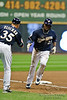 06 April 2010:  Milwaukee Brewers second baseman Rickie Weeks (23) rounds third base after hitting a home run during the game between the Colorado Rockies and Milwaukee Brewers at Miller Park in Milwaukee.  The Brewers won 7-5.<br /> Mandatory Credit: John Rowland / Southcreek Global