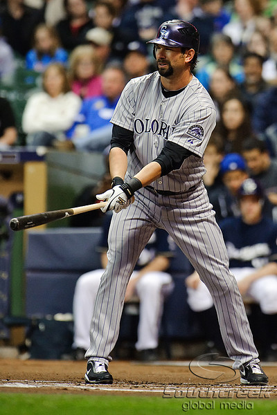 06 April 2010:  Colorado Rockies first baseman Todd Helton (17) during the game between the Colorado Rockies and Milwaukee Brewers at Miller Park in Milwaukee.  The Brewers defeated the Rockies 7-5.  Mandatory Credit: John Rowland / Southcreek Global