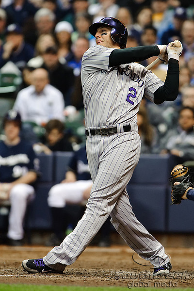 06 April 2010:  Colorado Rockies shortstop Troy Tulowitzki (2) bats during the game between the Colorado Rockies and Milwaukee Brewers at Miller Park in Milwaukee.  The Brewers won 7-5.<br /> Mandatory Credit: John Rowland / Southcreek Global