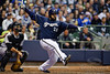 06 April 2010:  Milwaukee Brewers first baseman Prince Fielder (28) hits a double down the first base line during the game between the Colorado Rockies and Milwaukee Brewers at Miller Park in Milwaukee.  The Brewers won 7-5.<br /> Mandatory Credit: John Rowland / Southcreek Global