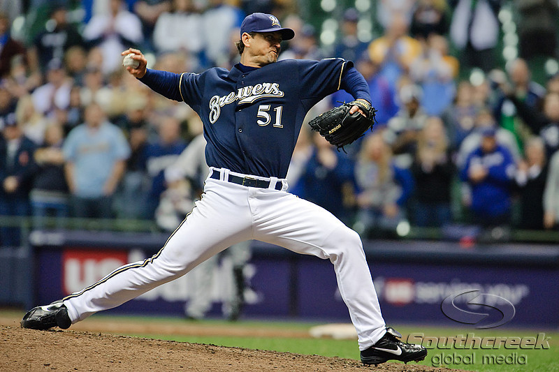 06 April 2010:  Milwaukee Brewers relief pitcher Trevor Hoffman (51) throws during the game between the Colorado Rockies and Milwaukee Brewers at Miller Park in Milwaukee.  The Brewers defeated the Rockies 7-5.<br /> Mandatory Credit: John Rowland / Southcreek Global