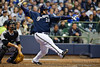 Featured in Sports Illustrated in the May 31st, 2010 issue.  06 April 2010:  Milwaukee Brewers first baseman Prince Fielder (28) hits a double down the first base line during the game between the Colorado Rockies and Milwaukee Brewers at Miller Park in Milwaukee.  The Brewers won 7-5.<br /> Mandatory Credit: John Rowland / Southcreek Global