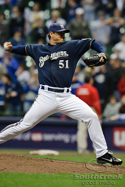 06 April 2010:  Milwaukee Brewers relief pitcher Trevor Hoffman (51) gets the save during the game between the Colorado Rockies and Milwaukee Brewers at Miller Park in Milwaukee.  The Brewers won 7-5.<br /> Mandatory Credit: John Rowland / Southcreek Global