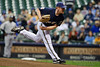 06 April 2010:  Milwaukee Brewers starting pitcher Randy Wolf (43) during the game between the Colorado Rockies and Milwaukee Brewers at Miller Park in Milwaukee.  The Brewers defeated the Rockies 7-5.  Mandatory Credit: John Rowland / Southcreek Global