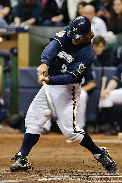 06 April 2010:  Milwaukee Brewers catcher Gregg Zaun (9) connects with a pitch during the game between the Colorado Rockies and Milwaukee Brewers at Miller Park in Milwaukee.  The Brewers defeated the Rockies 7-5.  Mandatory Credit: John Rowland / Southcreek Global