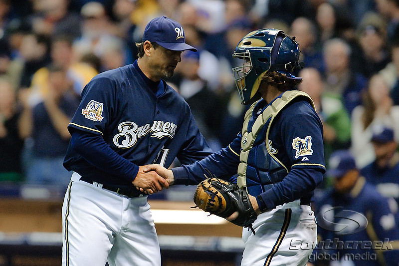 06 April 2010:  Milwaukee Brewers catcher Gregg Zaun (9) congratulates Milwaukee Brewers relief pitcher Trevor Hoffman (51) at the conclusion of the game between the Colorado Rockies and Milwaukee Brewers at Miller Park in Milwaukee.  The Brewers won 7-5.<br /> Mandatory Credit: John Rowland / Southcreek Global