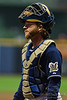 06 April 2010:  Milwaukee Brewers catcher Gregg Zaun (9) during the game between the Colorado Rockies and Milwaukee Brewers at Miller Park in Milwaukee.  The Brewers defeated the Rockies 7-5.  Mandatory Credit: John Rowland / Southcreek Global