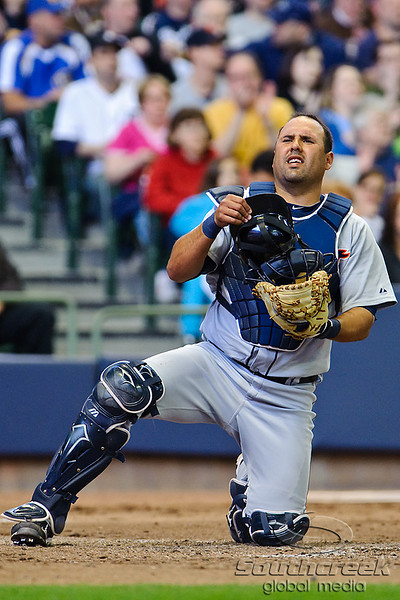 03 April 2010:  Detroit Tigers catcher Gerald Laird (8) winces after getting struck by a foul tip during the exhibition game between the Detroit Tigers and Milwaukee Brewers at Miller Park in Milwaukee.  The Brewers came from behind in the 9th inning to win 13-12.<br /> Mandatory Credit: John Rowland / Southcreek Global