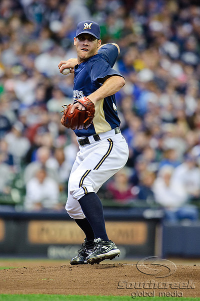 03 April 2010:  Milwaukee Brewers starting pitcher Dave Bush (31) attempts to pick off a baserunner during the exhibition game between the Detroit Tigers and Milwaukee Brewers at Miller Park in Milwaukee.  The Brewers came from behind in the 9th inning to win 13-12.<br /> Mandatory Credit: John Rowland / Southcreek Global