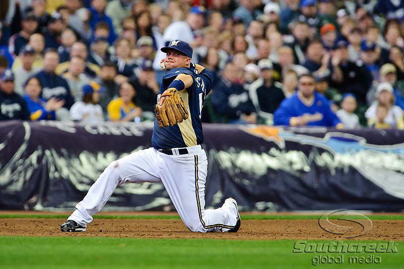 03 April 2010:  Milwaukee Brewers third baseman Casey McGehee (14) during the exhibition game between the Detroit Tigers and Milwaukee Brewers at Miller Park in Milwaukee.  The Brewers came from behind in the 9th inning to win 13-12.<br /> Mandatory Credit: John Rowland / Southcreek Global