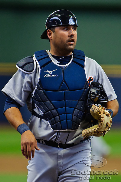 03 April 2010:  Detroit Tigers catcher Gerald Laird (8) during the exhibition game between the Detroit Tigers and Milwaukee Brewers at Miller Park in Milwaukee.  The Brewers came from behind in the 9th inning to win 13-12.<br /> Mandatory Credit: John Rowland / Southcreek Global