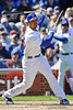 18 April 2010:  Chicago Cubs first baseman Derrek Lee (25) watches as the ball sails foul down the right field line during the game between the Houston Astros and Chicago Cubs at Wrigley Field in Chicago, Illinois.  Mandatory Credit: John Rowland / Southcreek Global