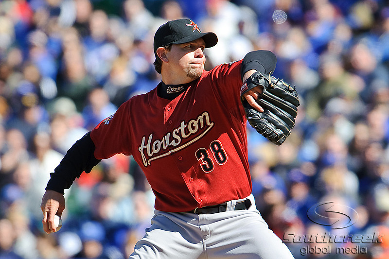 18 April 2010:   Houston Astros relief pitcher Brian Moehler (38) during the game between the Houston Astros and Chicago Cubs at Wrigley Field in Chicago, Illinois.  Mandatory Credit: John Rowland / Southcreek Global