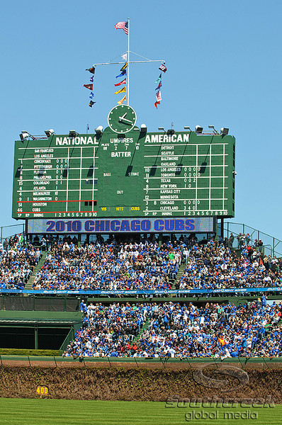 18 April 2010:   Wrigley Field's bleachers and scoreboard prior to the start of the game between the Houston Astros and Chicago Cubs at Wrigley Field in Chicago, Illinois.  Mandatory Credit: John Rowland / Southcreek Global