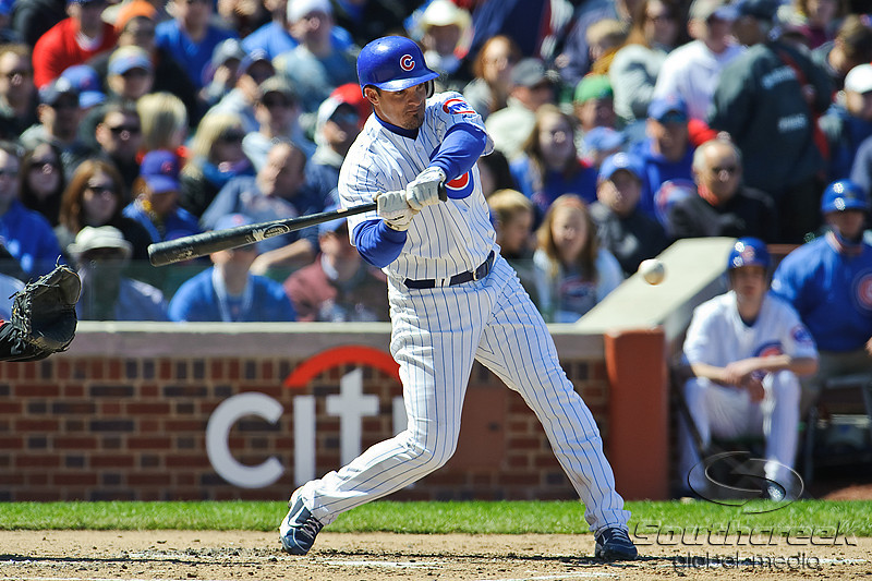 18 April 2010:  Chicago Cubs shortstop Ryan Theriot (2) at bat during the game between the Houston Astros and Chicago Cubs at Wrigley Field in Chicago, Illinois.  Mandatory Credit: John Rowland / Southcreek Global