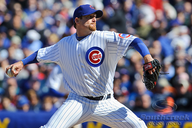 18 April 2010:   Chicago Cubs starting pitcher Ryan Dempster (46) during the game between the Houston Astros and Chicago Cubs at Wrigley Field in Chicago, Illinois.  Mandatory Credit: John Rowland / Southcreek Global