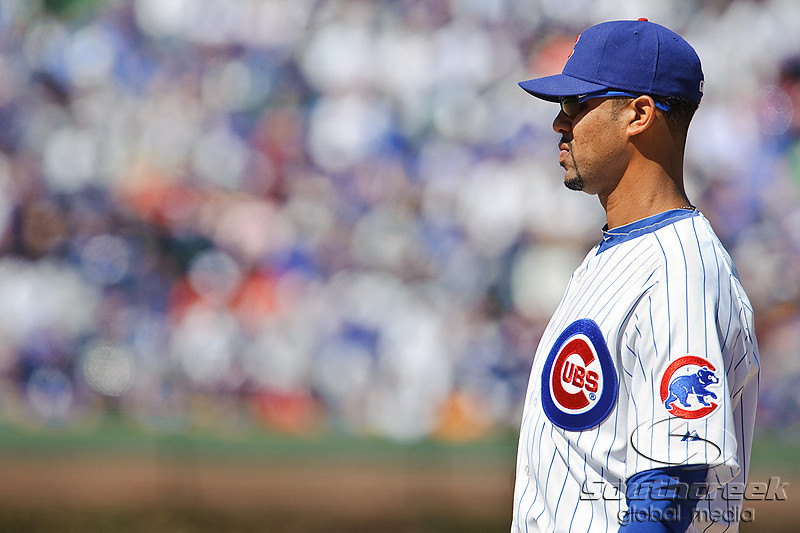 18 April 2010:  Chicago Cubs first baseman Derrek Lee (25) during the game between the Houston Astros and Chicago Cubs at Wrigley Field in Chicago, Illinois.  Mandatory Credit: John Rowland / Southcreek Global