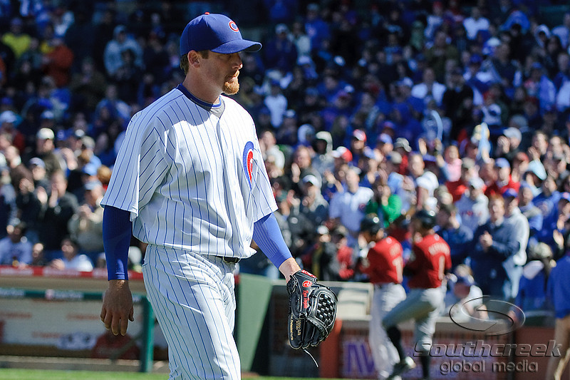 18 April 2010:   Chicago Cubs starting pitcher Ryan Dempster (46) leaves the game to a standing ovation during the game between the Houston Astros and Chicago Cubs at Wrigley Field in Chicago, Illinois.  Mandatory Credit: John Rowland / Southcreek Global
