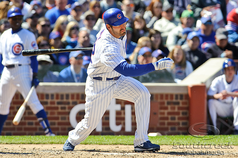 18 April 2010:   Chicago Cubs right fielder Xavier Nady (22) at bat during the game between the Houston Astros and Chicago Cubs at Wrigley Field in Chicago, Illinois.  Mandatory Credit: John Rowland / Southcreek Global