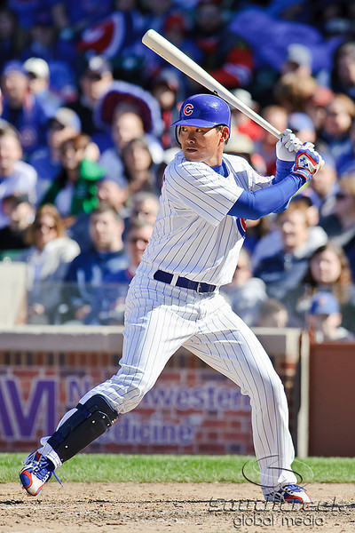 18 April 2010:  Chicago Cubs center fielder Kosuke Fukudome (1) bats during the game between the Houston Astros and Chicago Cubs at Wrigley Field in Chicago, Illinois.  Mandatory Credit: John Rowland / Southcreek Global
