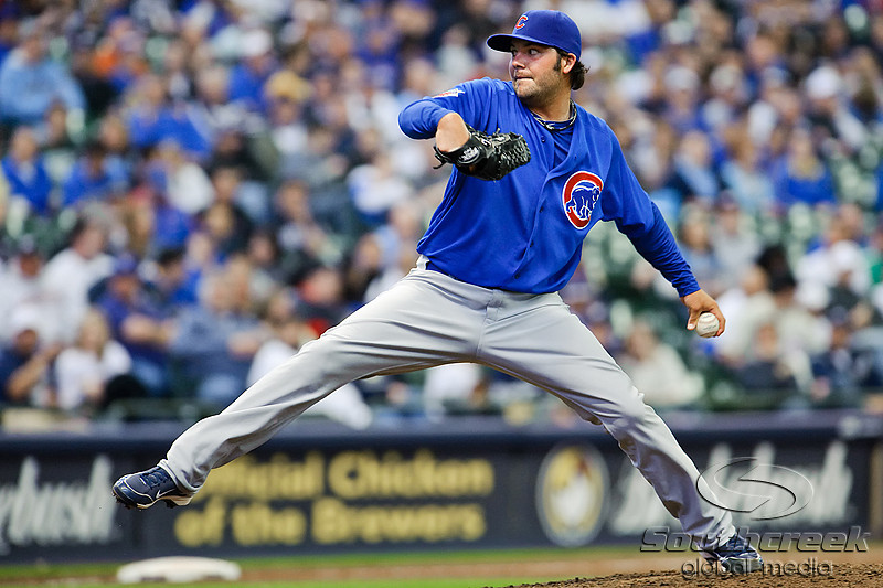 25 April 2010:  Chicago Cubs relief pitcher James Russell (40) during the game between the Milwaukee Brewers and Chicago Cubs at Miller Park in Milwaukee, Wisconsin.  The Cubs defeated the Brewers 12-2 to sweep the 3 game series.  Mandatory Credit: John Rowland / Southcreek Global