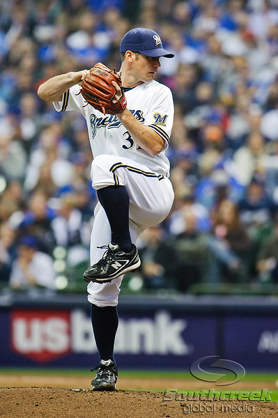 25 April 2010:  Milwaukee Brewers starting pitcher Dave Bush (31) during the game between the Milwaukee Brewers and Chicago Cubs at Miller Park in Milwaukee, Wisconsin.  The Cubs defeated the Brewers 12-2 to sweep the 3 game series.  Mandatory Credit: John Rowland / Southcreek Global