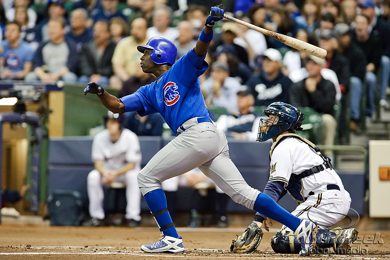 25 April 2010:  Chicago Cubs left fielder Alfonso Soriano (12) hits a sacrifice fly to right field during the 1st inning of the game between the Milwaukee Brewers and Chicago Cubs at Miller Park in Milwaukee, Wisconsin.  The Cubs defeated the Brewers 12-2 to sweep the 3 game series.  Mandatory Credit: John Rowland / Southcreek Global