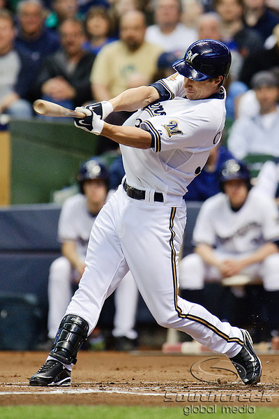 25 April 2010:  Milwaukee Brewers third baseman Craig Counsell (30) bats during the game between the Milwaukee Brewers and Chicago Cubs at Miller Park in Milwaukee, Wisconsin.  The Cubs defeated the Brewers 12-2 to sweep the 3 game series.  Mandatory Credit: John Rowland / Southcreek Global