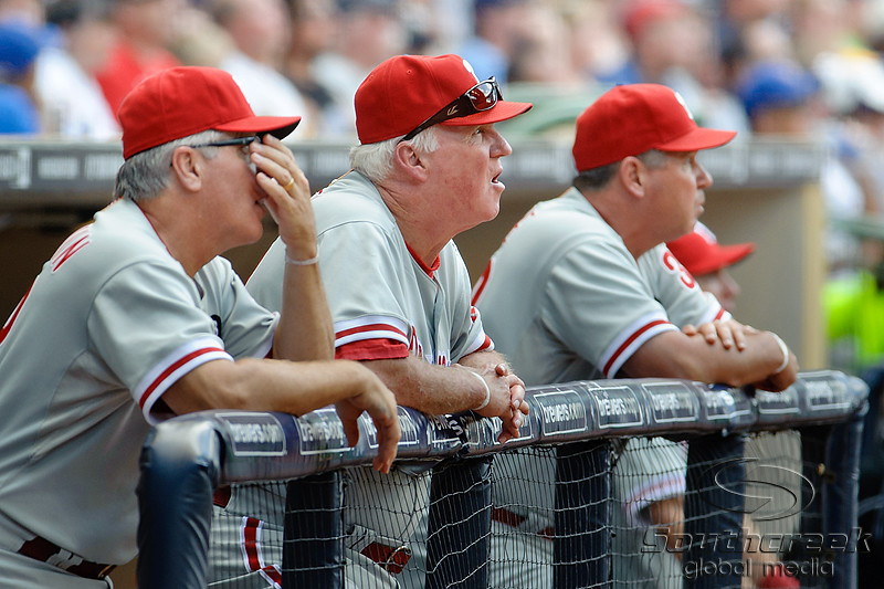 Philadelphia Manager Charlie Manuel watches Philadelphia center fielder Shane Victorino's home run during the game between the Milwaukee Brewers and the Philadelphia Phillies at Miller Park in Milwaukee, WI. The Brewers defeated the Phillies 3-2 to end a five game losing streak.