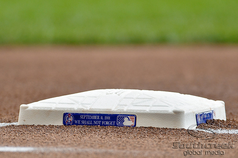 Special bases were used to commemorate the 10th anniversary of 9/11 for the game between the Milwaukee Brewers and the Philadelphia Phillies at Miller Park in Milwaukee, WI. The Brewers defeated the Phillies 3-2 to end a five game losing streak.