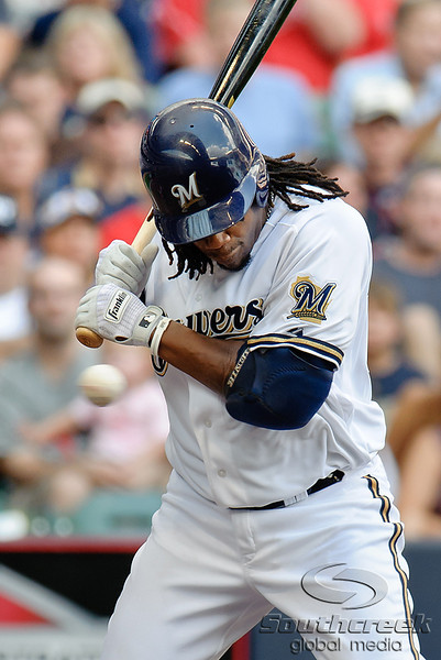 Milwaukee second baseman Rickie Weeks (23) is hit by a pitch during the game between the Milwaukee Brewers and the Philadelphia Phillies at Miller Park in Milwaukee, WI. The Brewers defeated the Phillies 3-2 to end a five game losing streak.