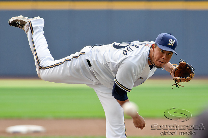 Milwaukee starting pitcher Yovani Gallardo (49) throws to the plate during the game between the Milwaukee Brewers and the Philadelphia Phillies at Miller Park in Milwaukee, WI. The Brewers defeated the Phillies 3-2 to end a five game losing streak.