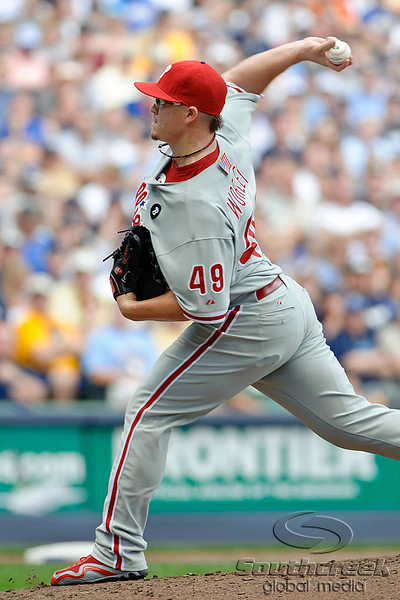 Philadelphia starting pitcher Vance Worley (49) throws during the game between the Milwaukee Brewers and the Philadelphia Phillies at Miller Park in Milwaukee, WI. The Brewers defeated the Phillies 3-2 to end a five game losing streak.