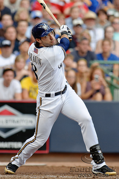 Milwaukee left fielder Ryan Braun (8) at bat during the game between the Milwaukee Brewers and the Philadelphia Phillies at Miller Park in Milwaukee, WI. The Brewers defeated the Phillies 3-2 to end a five game losing streak.