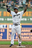 Milwaukee center fielder Nyjer Morgan (2) is pumped up after hitting a double during the game between the Milwaukee Brewers and the Philadelphia Phillies at Miller Park in Milwaukee, WI. The Brewers defeated the Phillies 3-2 to end a five game losing streak.