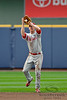Philadelphia second baseman Pete Orr (5) makes the catch during the game between the Milwaukee Brewers and the Philadelphia Phillies at Miller Park in Milwaukee, WI. The Brewers defeated the Phillies 3-2 to end a five game losing streak.