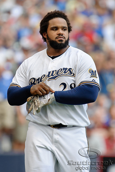 Milwaukee first baseman Prince Fielder (28) reacts after striking out during the game between the Milwaukee Brewers and the Philadelphia Phillies at Miller Park in Milwaukee, WI. The Brewers defeated the Phillies 3-2 to end a five game losing streak.