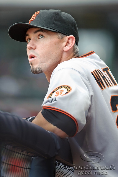 5 July 2010:  San Francisco Giants catcher Eli Whiteside (22) watches the action from the dugout during the game between the Milwaukee Brewers and San Francisco Giants at Miller Park in Milwaukee, Wisconsin.  The Giants defeated the Brewers 6-1.  Mandatory Credit: John Rowland / Southcreek Global