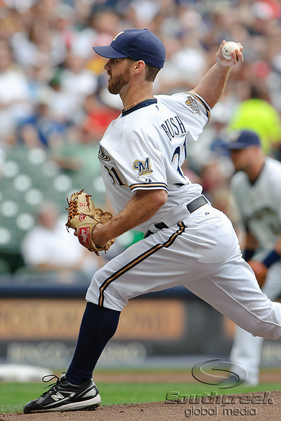 5 July 2010:  Milwaukee Brewers starting pitcher Dave Bush (31) throws to the plate during the game between the Milwaukee Brewers and San Francisco Giants at Miller Park in Milwaukee, Wisconsin.  The Giants defeated the Brewers 6-1.  Mandatory Credit: John Rowland / Southcreek Global