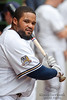 5 July 2010:  Milwaukee Brewers first baseman Prince Fielder (28) warms up in the dugout prior to the game between the Milwaukee Brewers and San Francisco Giants at Miller Park in Milwaukee, Wisconsin.  The Giants defeated the Brewers 6-1.  Mandatory Credit: John Rowland / Southcreek Global