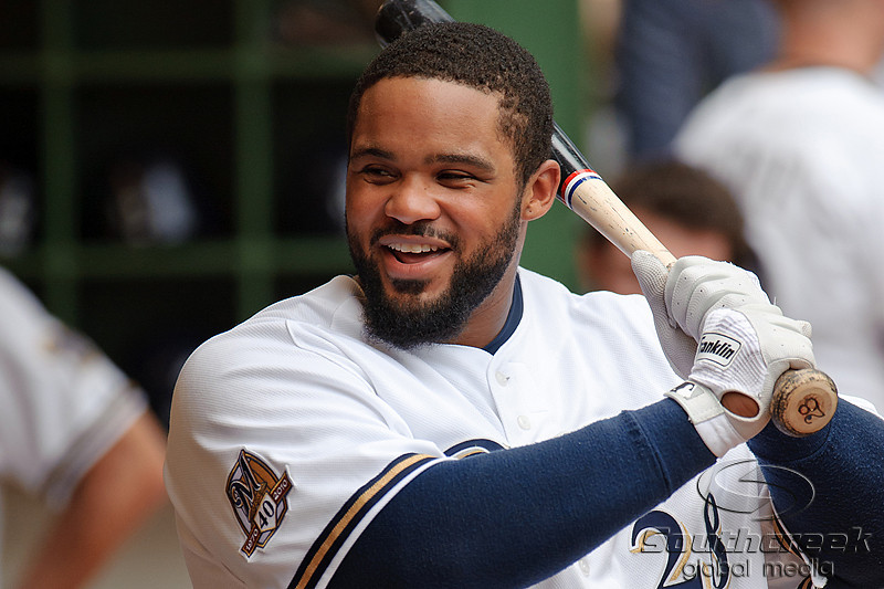 5 July 2010:  Milwaukee Brewers first baseman Prince Fielder (28) jokes with teammates prior to the game between the Milwaukee Brewers and San Francisco Giants at Miller Park in Milwaukee, Wisconsin.  The Giants defeated the Brewers 6-1.  Mandatory Credit: John Rowland / Southcreek Global