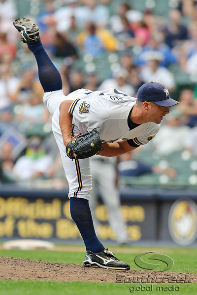 5 July 2010:  Milwaukee Brewers relief pitcher Chris Capuano (39) delivers a pitch during the game between the Milwaukee Brewers and San Francisco Giants at Miller Park in Milwaukee, Wisconsin.  The Giants defeated the Brewers 6-1.  Mandatory Credit: John Rowland / Southcreek Global