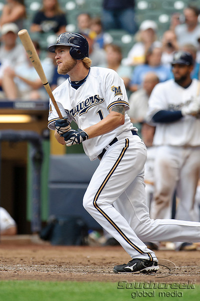 5 July 2010:  Milwaukee Brewers right fielder Corey Hart (1) hits a ninth inning double during the game between the Milwaukee Brewers and San Francisco Giants at Miller Park in Milwaukee, Wisconsin.  The Giants defeated the Brewers 6-1.  Mandatory Credit: John Rowland / Southcreek Global
