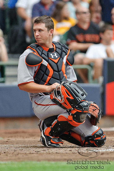 5 July 2010:  San Francisco Giants catcher Buster Posey (28) during the game between the Milwaukee Brewers and San Francisco Giants at Miller Park in Milwaukee, Wisconsin.  The Giants defeated the Brewers 6-1.  Mandatory Credit: John Rowland / Southcreek Global