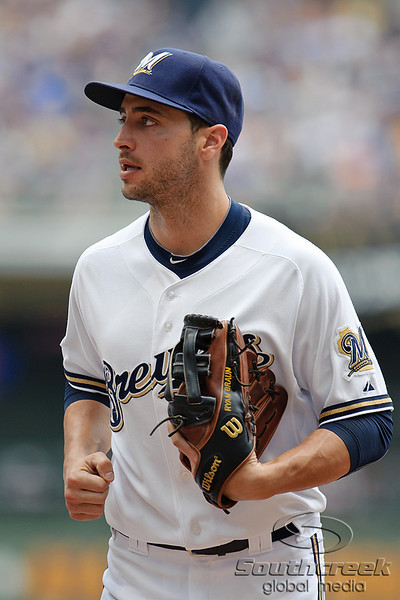 5 July 2010:  Milwaukee Brewers left fielder Ryan Braun (8) during the game between the Milwaukee Brewers and San Francisco Giants at Miller Park in Milwaukee, Wisconsin.  The Giants defeated the Brewers 6-1.  Mandatory Credit: John Rowland / Southcreek Global