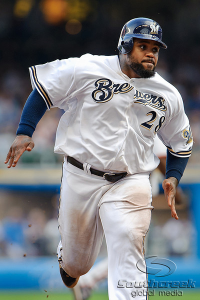5 July 2010:  Milwaukee Brewers first baseman Prince Fielder (28) runs to third base during the game between the Milwaukee Brewers and San Francisco Giants at Miller Park in Milwaukee, Wisconsin.  The Giants defeated the Brewers 6-1.  Mandatory Credit: John Rowland / Southcreek Global