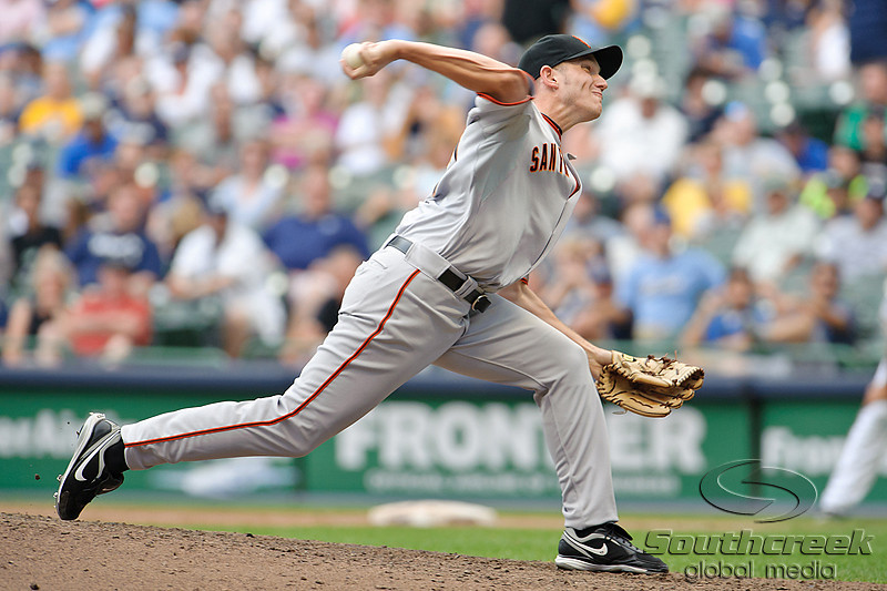 5 July 2010:  San Francisco Giants relief pitcher Chris Ray (47) throws to the plate during the game between the Milwaukee Brewers and San Francisco Giants at Miller Park in Milwaukee, Wisconsin.  The Giants defeated the Brewers 6-1.  Mandatory Credit: John Rowland / Southcreek Global